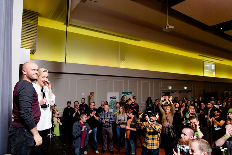 Steamworks brewmaster Julia Hanlon gets the biggest cheer of the evening. (Photo: Alison Page)