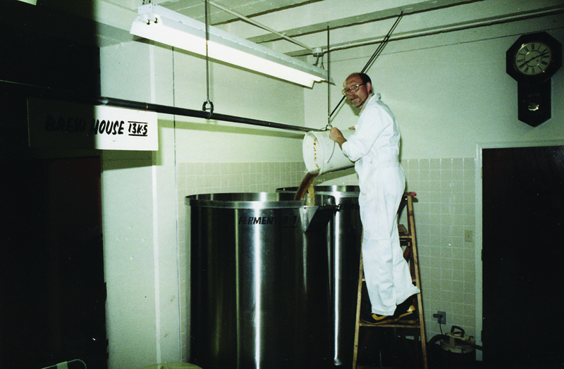 A historic moment: Frank Appleton pitches the yeast into the first batch of Bay Ale. (Frank Appleton collection)