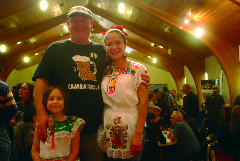Paddy Trevor (CAMRA Powell River President) with his wife Blanka and daughter Cielo