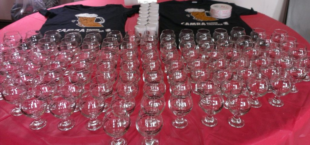 Glasses waiting for festival goers.