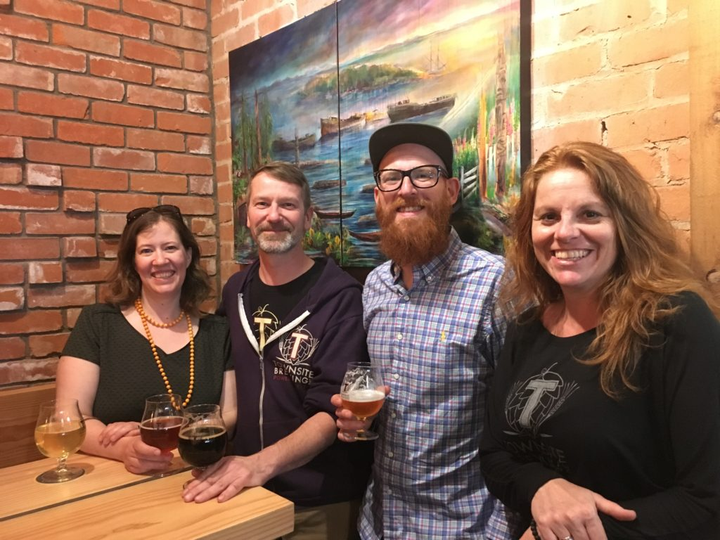 Townsite Brewing co-owners (from left) Chloe Smith, Ulrich Herl, Cedric Dauchot and Michelle Zutz on opening night of thier new tasting room and Economusee.