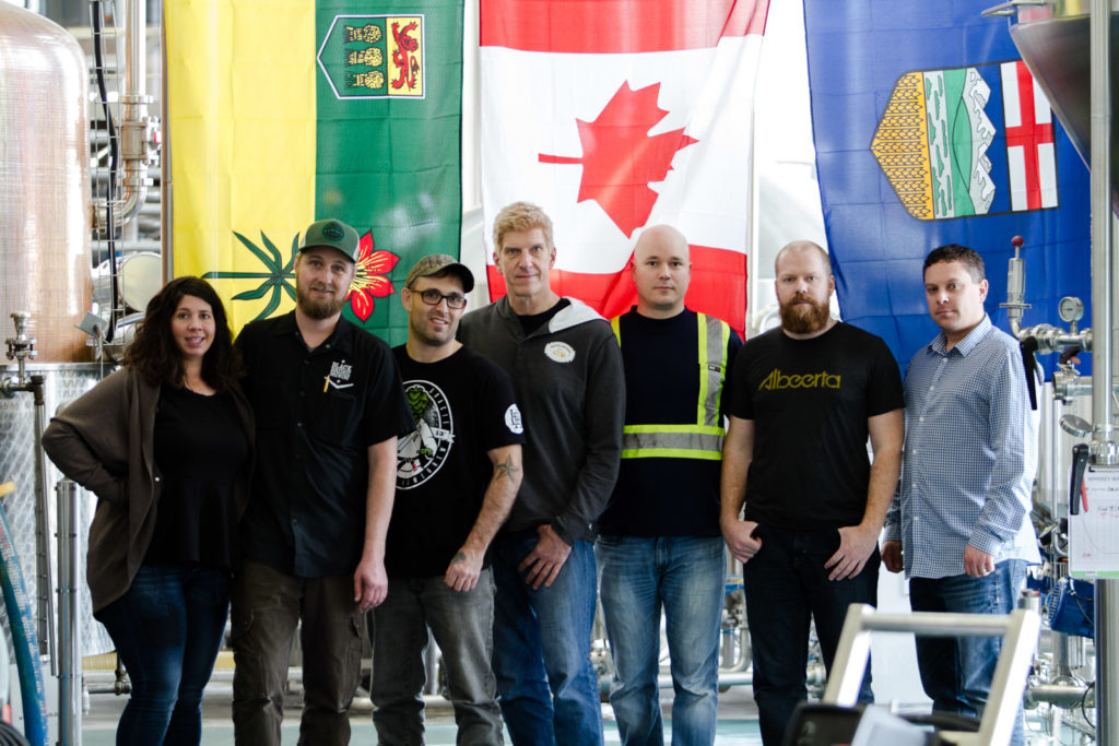 The brewing teams from Black Ridge Brewery, Last Best Brewing & Distilling, and Central City Brewing + Distilling. Gary Lohin is centre.