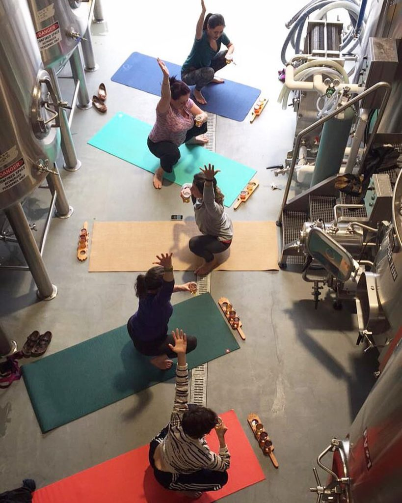 Yoga in the brewhouse at Mount Arrowsmith.