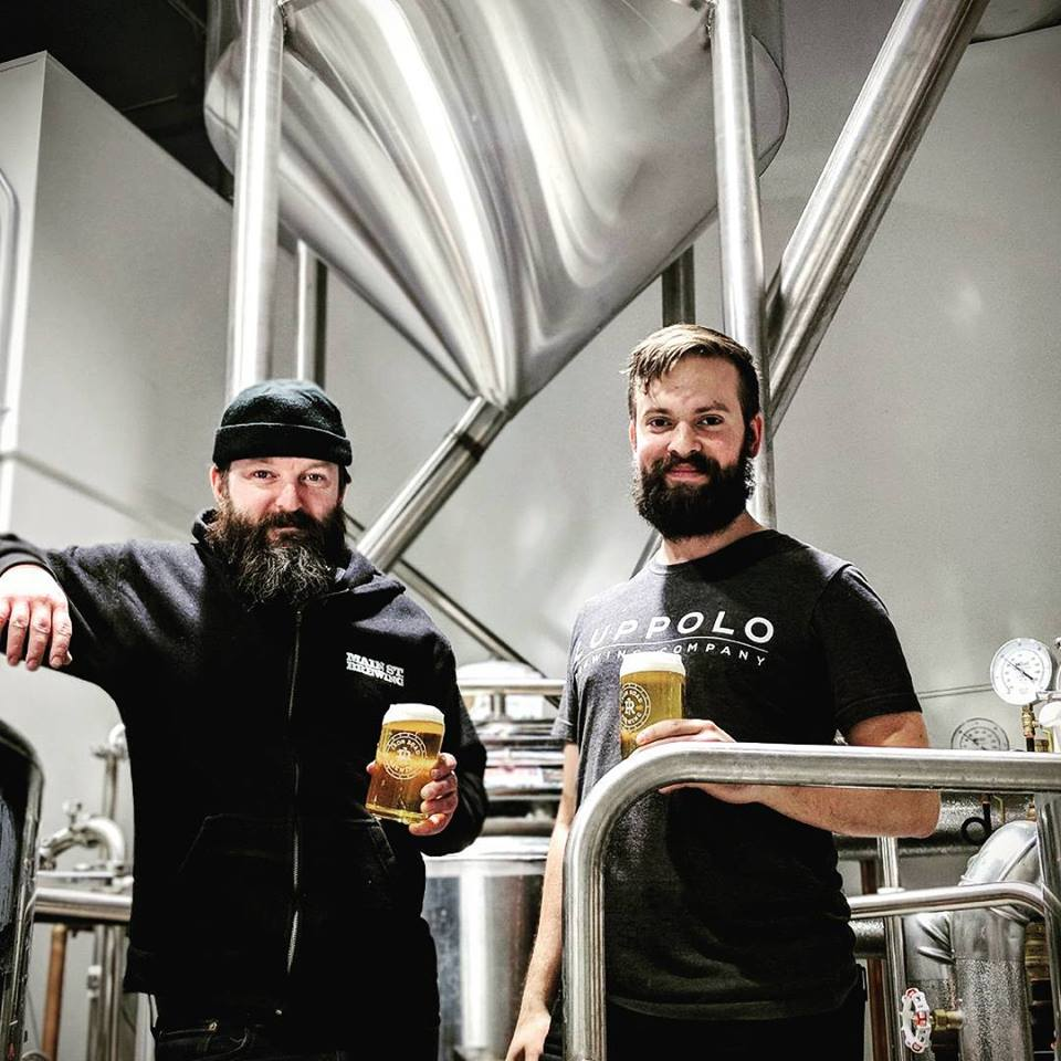 Aaron MacInnis in the brewhouse with Stefan Thordarson