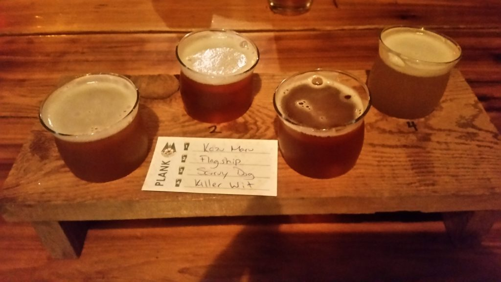 image of beer flight at Wheelhouse Brewing in Prince Rupert, BC
