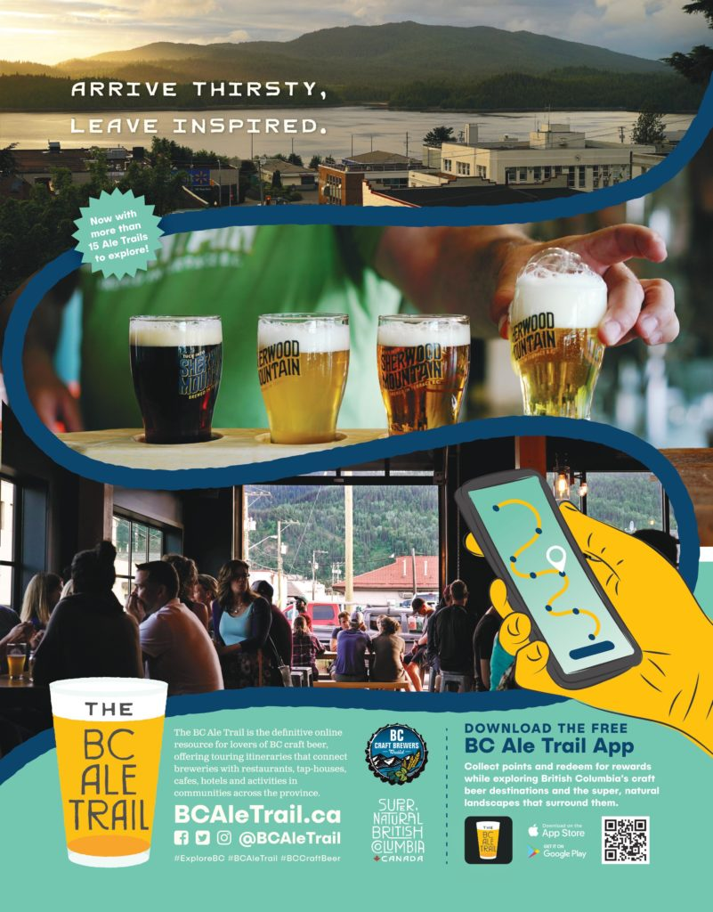 image of community, beer flight, and people in brewery promoting free BC Ale Trail app