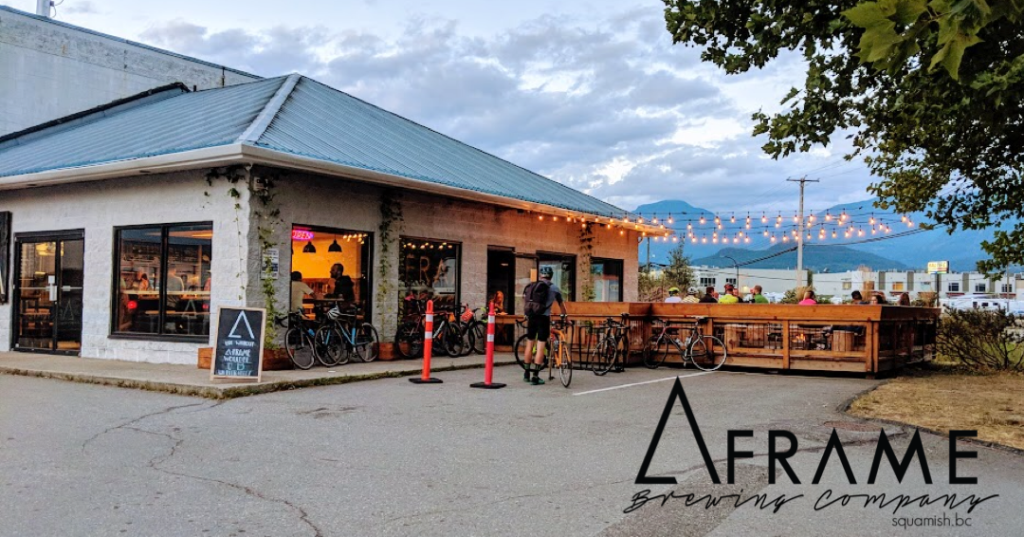 A-Frame Brewing building and patio in Squamish