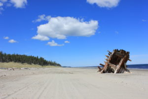 image of wooden hull of ship on beach, Pesuta Trail, Haida Gwaii