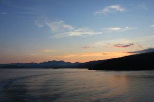 image of sunset from BC Ferries leaving Skidegate, Haida Gwaii