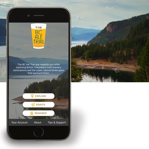 new BC Ale Trail app, as displayed on iPhone