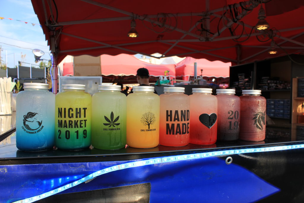 a lineup of colourful virign cocktails at Richmond Night Market