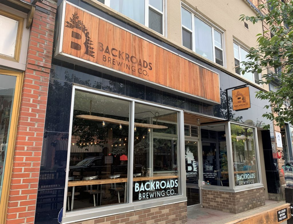 front door and signage at Backroads Brewing Co. in Nelson, BC