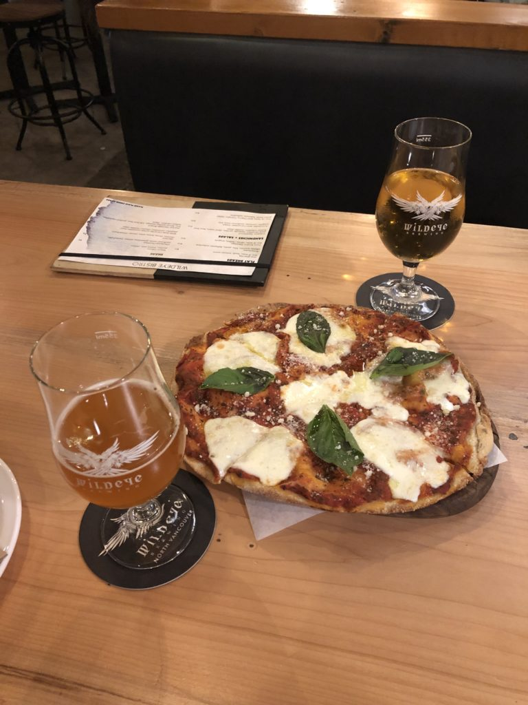 flatbread pizza and pints at Wildeye Brewing on Vancouver's North Shore