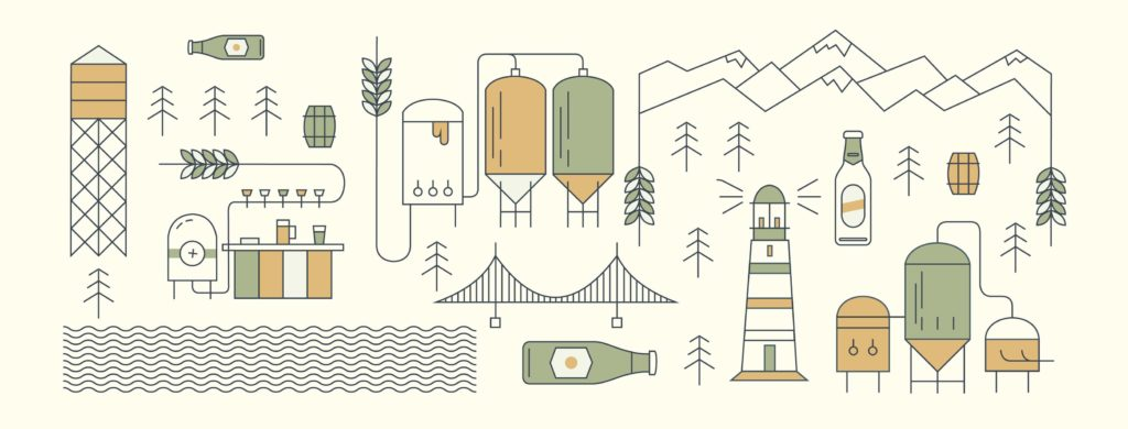 promotional illustration of Vancouver North Shore landmarks and brewery equipment for Craft Beer Week