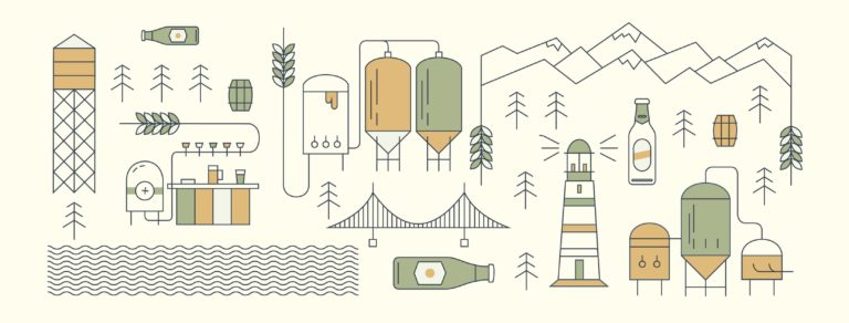 promotional illustration of Vancouver North Shore landmarks and brewery equipment for Craft Beer Week 2019