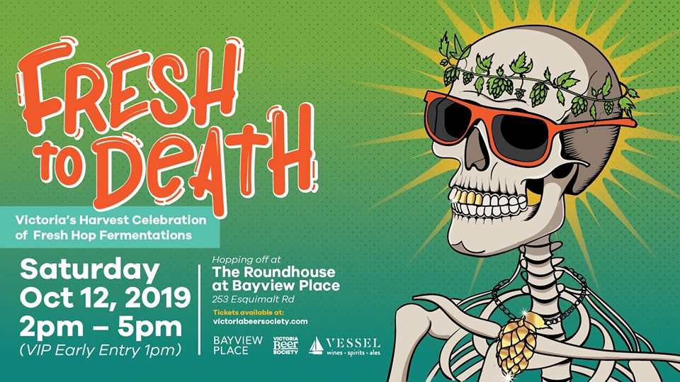 promotional illustration for Fresh To Death fresh hop event in Victoria during BC Craft Beer Month