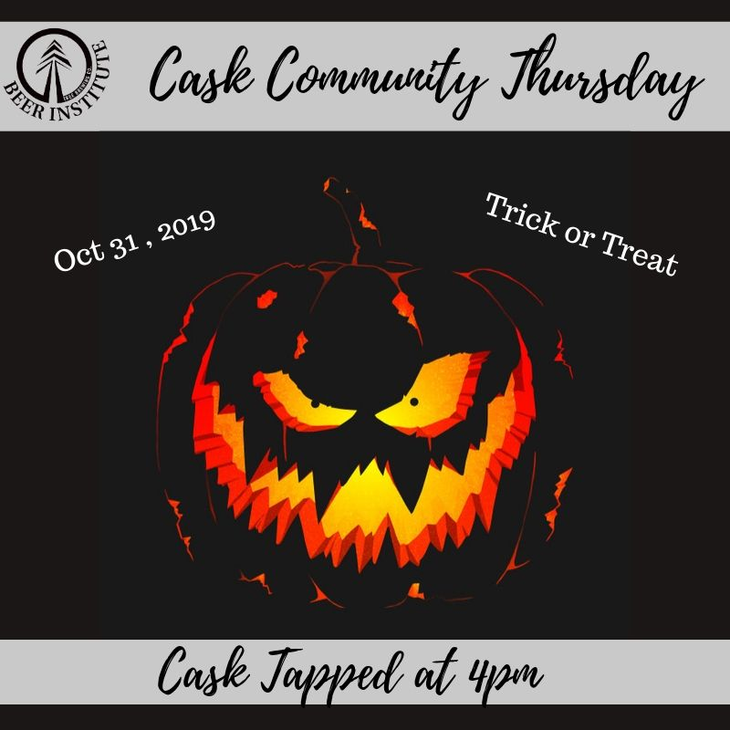 special Cask Thursday event at Tree Beer Institute in Kelowna on Oct 31 2019 for Halloween