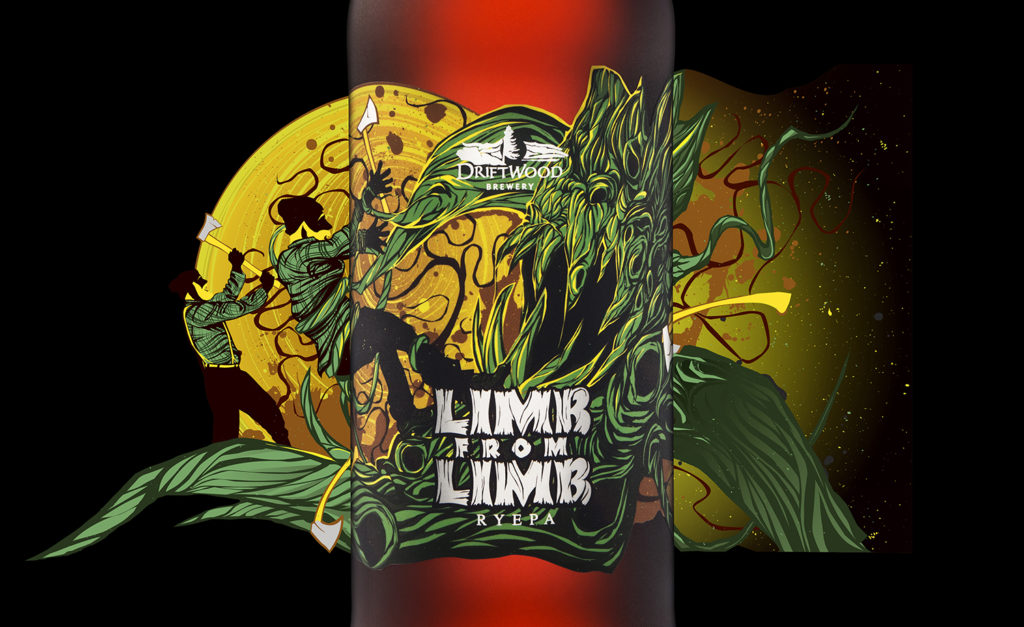 Driftwood Brewery's Limb from Limb RyePA bottle design