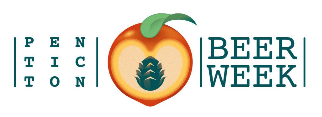 Penticton Beer Week logo design, with a peach and a hop as its pit