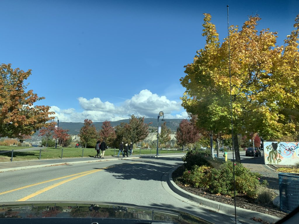 fall foliage and people walking in Penticton