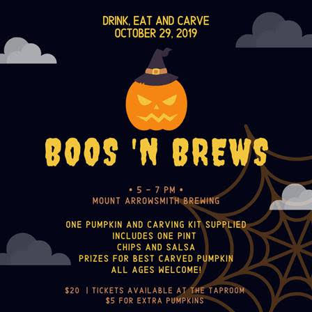 poster info for Mount Arrowsmith's Boos 'n Brews Halloween event in Parksville
