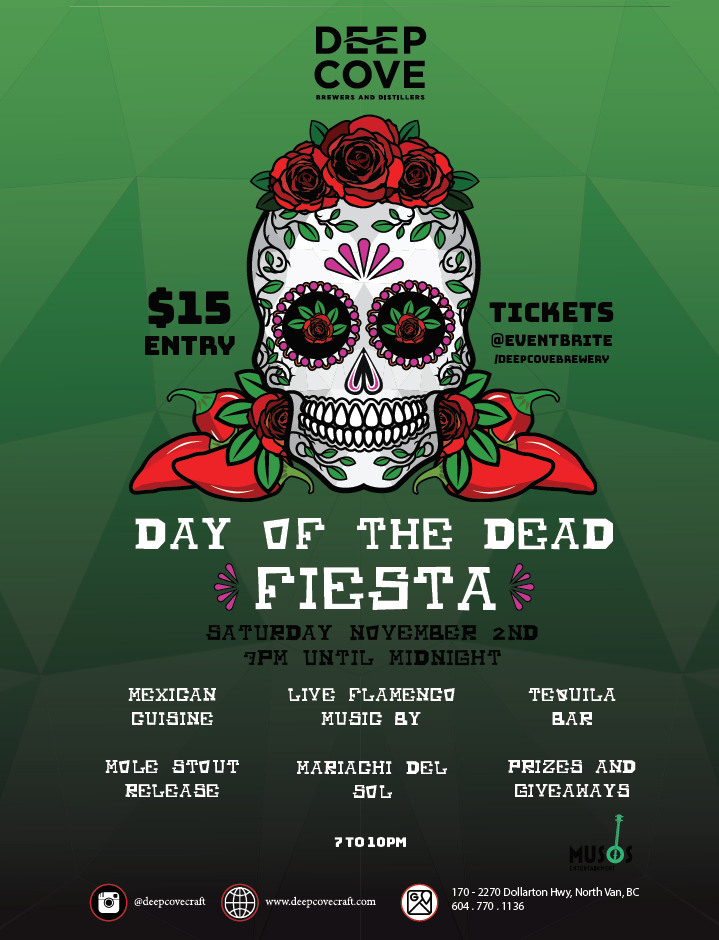 Deep Cove Brewers and Distillers Day of the Dead fiesta event