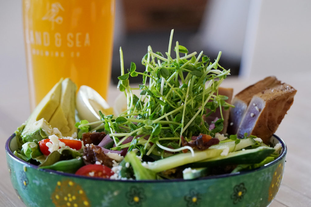 image of fresh salad bowl with pint of Land & Sea beer in background