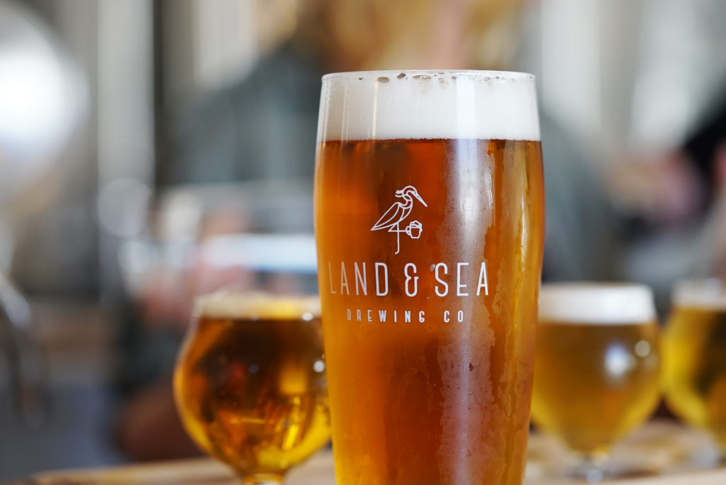 image of branded Land & Sea pint glass filled with beer, with a flight in the background