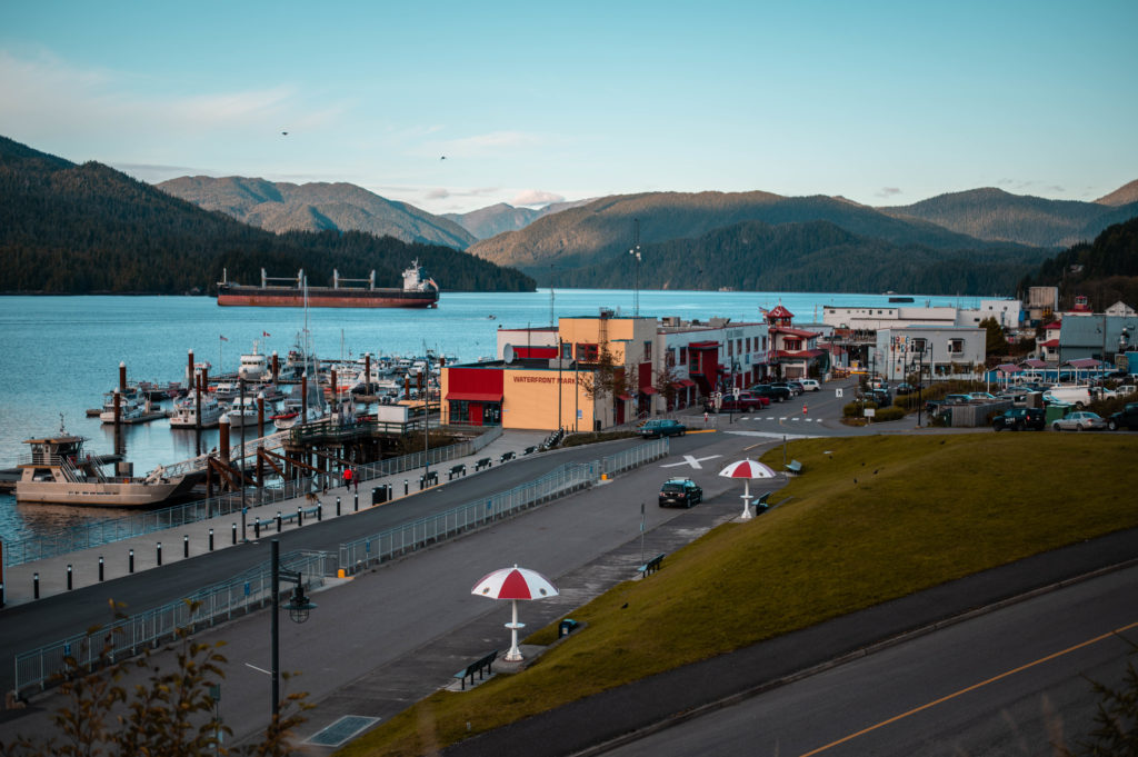 image of Atlin Terminal and ocean background with ship in Prince Rupert, BC on the Northern BC Ale Trail