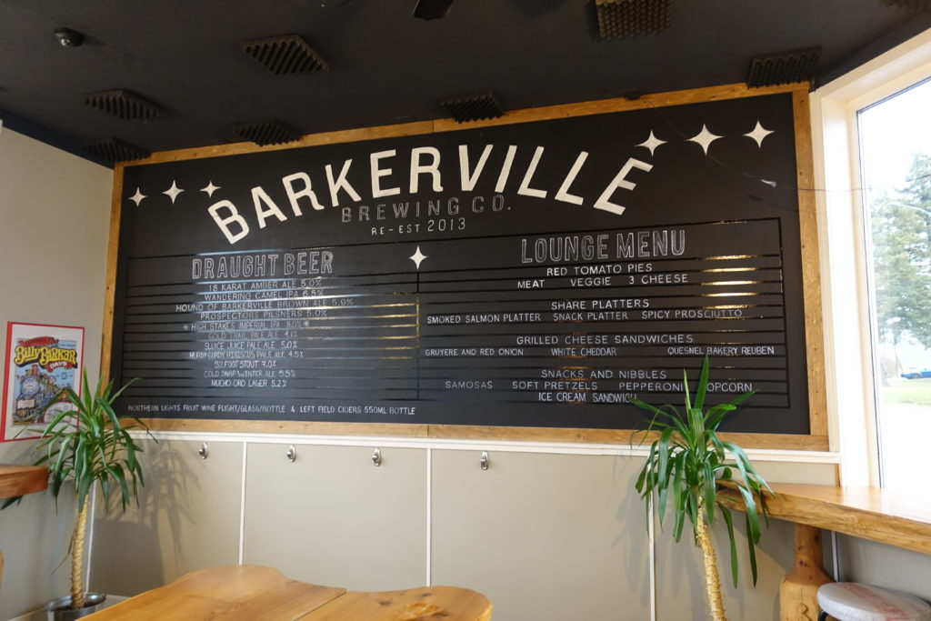 image of beer board at Barkerville Brewing Co. in Quesnel, BC