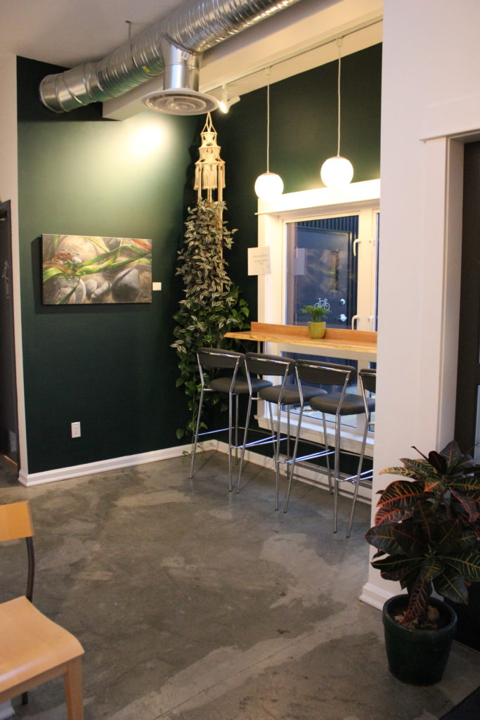 "image of corner bar area at Land & Sea Brewing Co., winner of this year's BC Ale Trail ""Best Brewery Experience"" award"