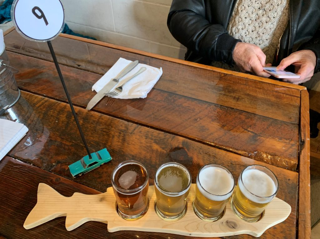 photo of four-beer tasting flight at Kettle River Brewing Co.