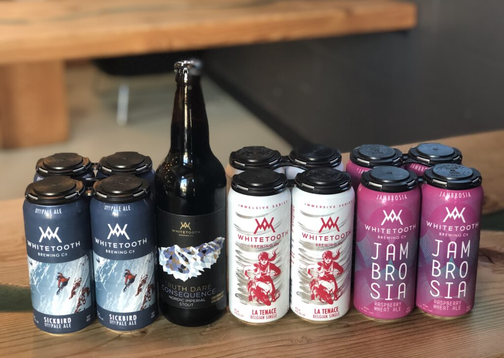 A collection of beers from Whitetooth Brewing