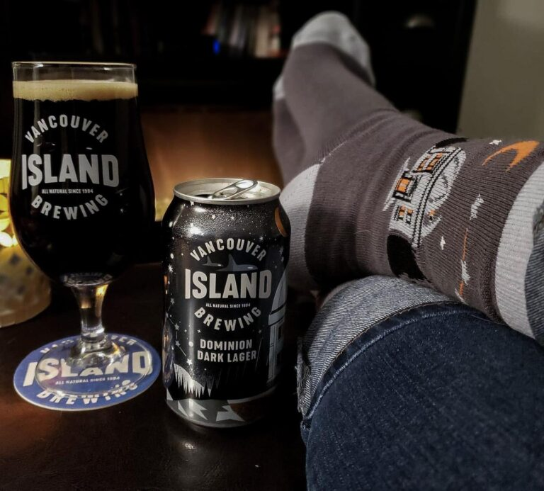 Vancouver Island Brewing dominion dark lager and socks